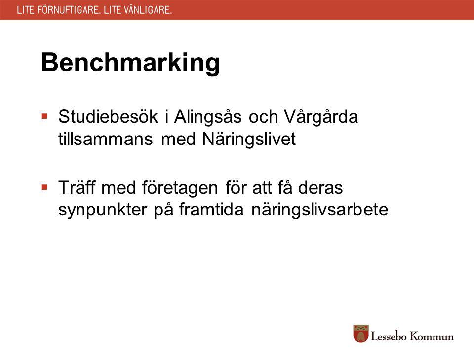 Benchmarking  Studiebesök i Alingsås och Vårgårda tillsammans med Näringslivet  Träff med företagen för att få deras synpunkter på framtida näringsl