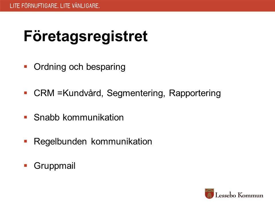 Företagsregistret  Ordning och besparing  CRM =Kundvård, Segmentering, Rapportering  Snabb kommunikation  Regelbunden kommunikation  Gruppmail