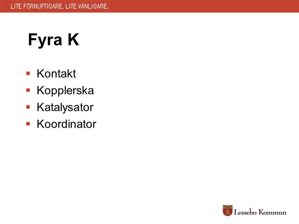 Fyra K  Kontakt  Kopplerska  Katalysator  Koordinator