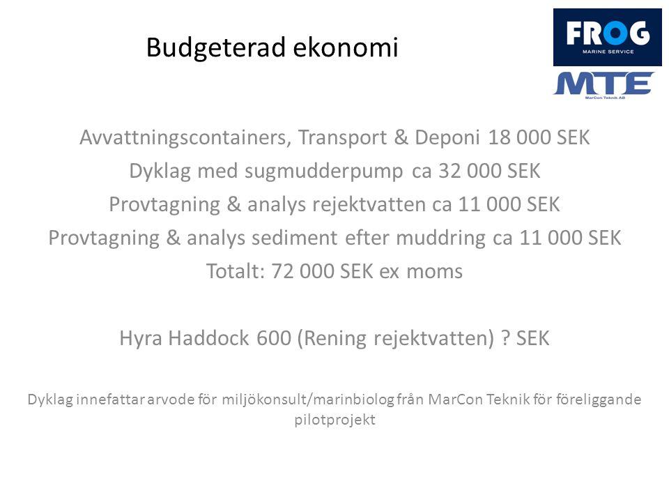 Budgeterad ekonomi Avvattningscontainers, Transport & Deponi 18 000 SEK Dyklag med sugmudderpump ca 32 000 SEK Provtagning & analys rejektvatten ca 11 000 SEK Provtagning & analys sediment efter muddring ca 11 000 SEK Totalt: 72 000 SEK ex moms Hyra Haddock 600 (Rening rejektvatten) .