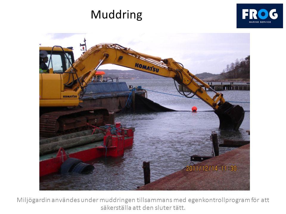 Muddring Miljögardin användes under muddringen tillsammans med egenkontrollprogram för att säkerställa att den sluter tätt.