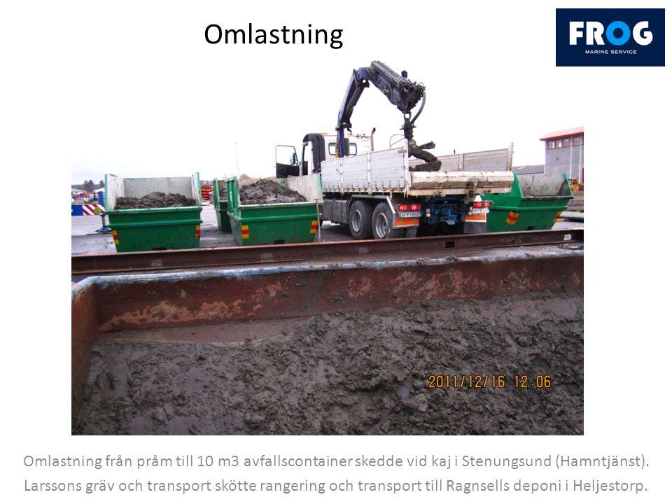 Omlastning Omlastning från pråm till 10 m3 avfallscontainer skedde vid kaj i Stenungsund (Hamntjänst).