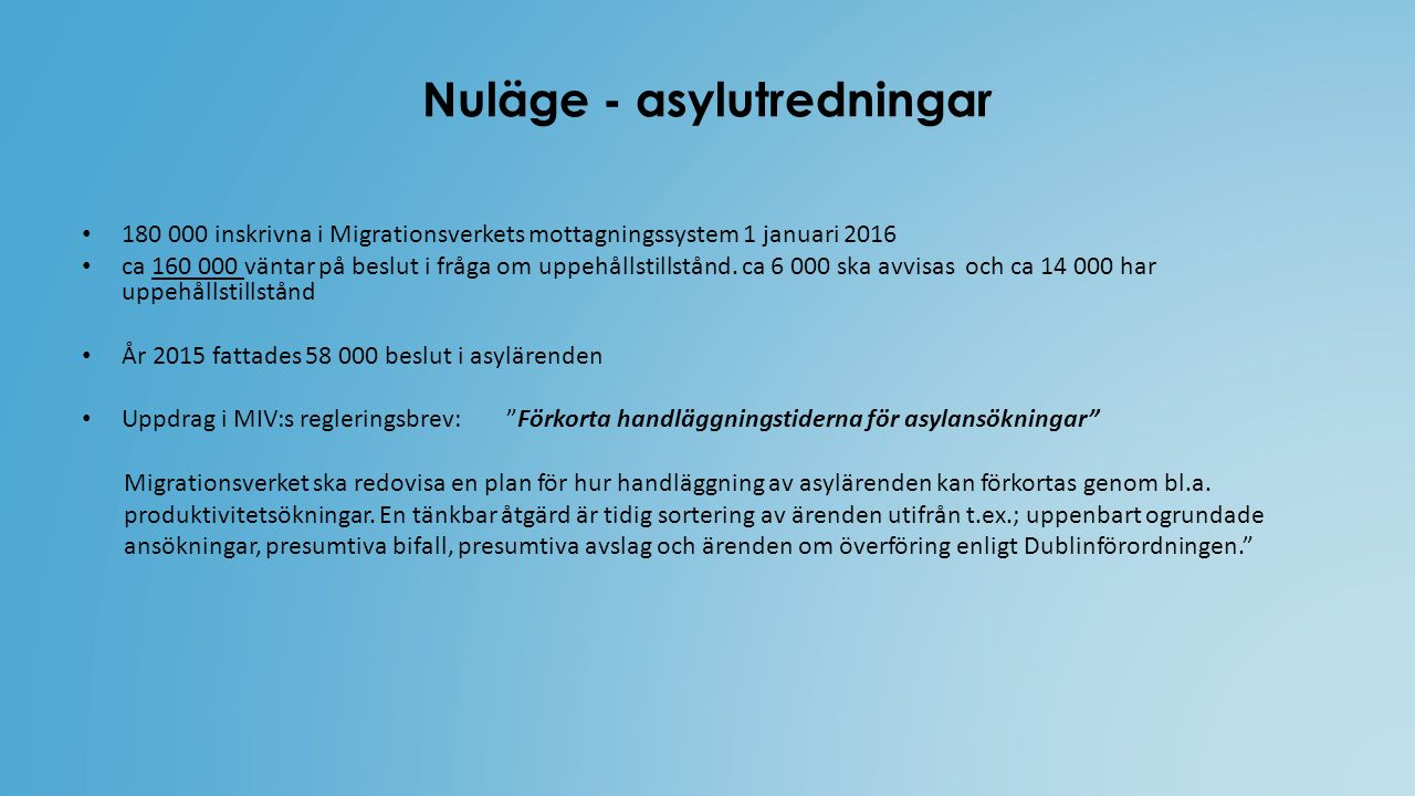 Nuläge - asylutredningar 180 000 inskrivna i Migrationsverkets mottagningssystem 1 januari 2016 ca 160 000 väntar på beslut i fråga om uppehållstillstånd.