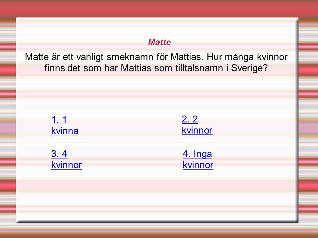 Matte Matte är ett vanligt smeknamn för Mattias.