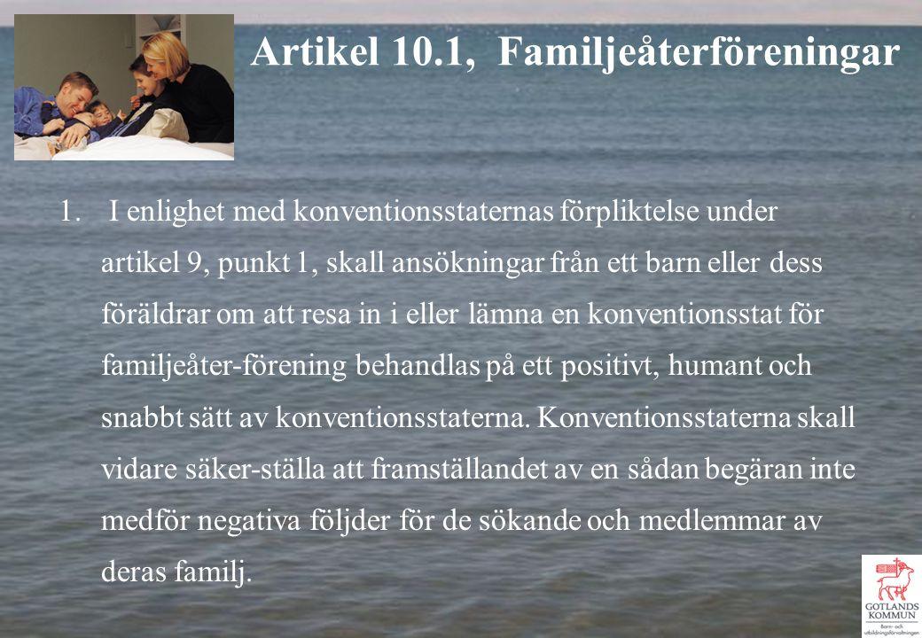 1. I enlighet med konventionsstaternas förpliktelse under artikel 9, punkt 1, skall ansökningar från ett barn eller dess föräldrar om att resa in i el
