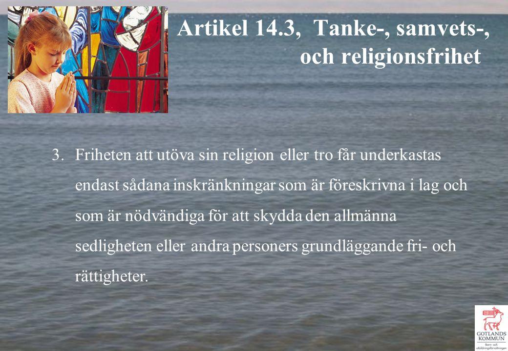 3.Friheten att utöva sin religion eller tro får underkastas endast sådana inskränkningar som är föreskrivna i lag och som är nödvändiga för att skydda den allmänna sedligheten eller andra personers grundläggande fri- och rättigheter.