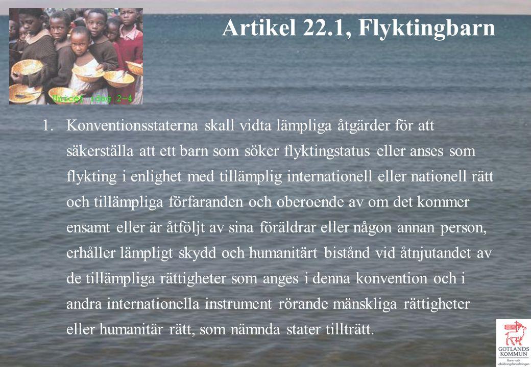 1.Konventionsstaterna skall vidta lämpliga åtgärder för att säkerställa att ett barn som söker flyktingstatus eller anses som flykting i enlighet med tillämplig internationell eller nationell rätt och tillämpliga förfaranden och oberoende av om det kommer ensamt eller är åtföljt av sina föräldrar eller någon annan person, erhåller lämpligt skydd och humanitärt bistånd vid åtnjutandet av de tillämpliga rättigheter som anges i denna konvention och i andra internationella instrument rörande mänskliga rättigheter eller humanitär rätt, som nämnda stater tillträtt.