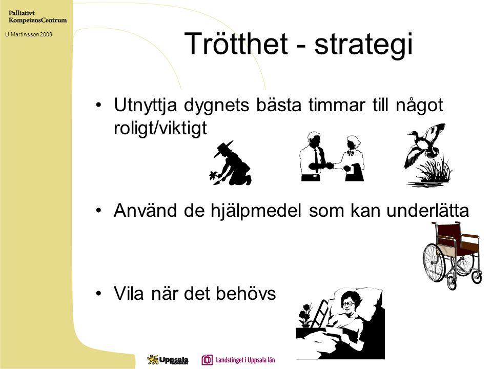 Trötthet - strategi Utnyttja dygnets bästa timmar till något roligt/viktigt Använd de hjälpmedel som kan underlätta Vila när det behövs U Martinsson 2008