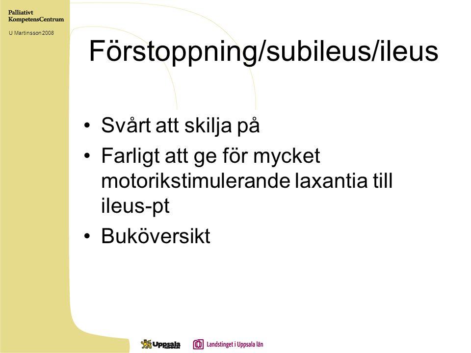 Förstoppning/subileus/ileus Svårt att skilja på Farligt att ge för mycket motorikstimulerande laxantia till ileus-pt Buköversikt U Martinsson 2008