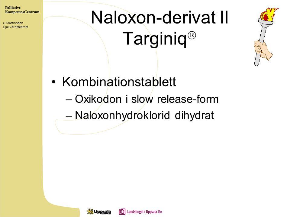 Naloxon-derivat II Targiniq  Kombinationstablett –Oxikodon i slow release-form –Naloxonhydroklorid dihydrat U Martinsson Sjukvårdsteamet