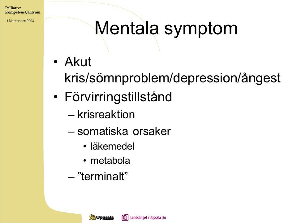 Mentala symptom Akut kris/sömnproblem/depression/ångest Förvirringstillstånd –krisreaktion –somatiska orsaker läkemedel metabola – terminalt U Martinsson 2008