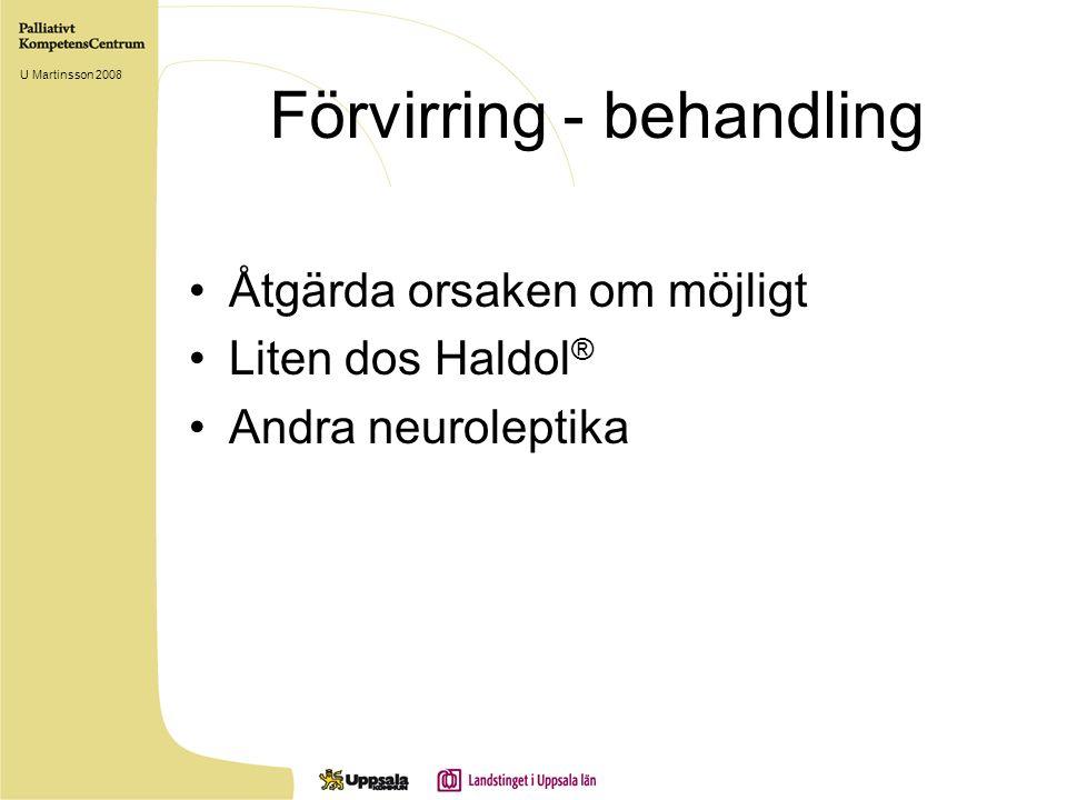 Förvirring - behandling Åtgärda orsaken om möjligt Liten dos Haldol ® Andra neuroleptika U Martinsson 2008
