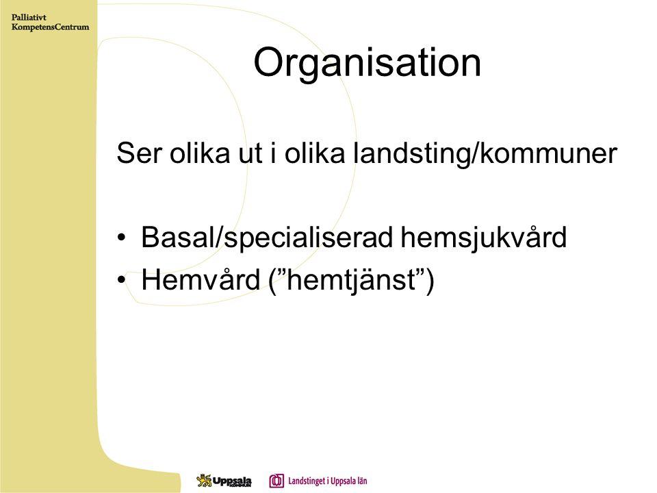 Organisation Ser olika ut i olika landsting/kommuner Basal/specialiserad hemsjukvård Hemvård ( hemtjänst )