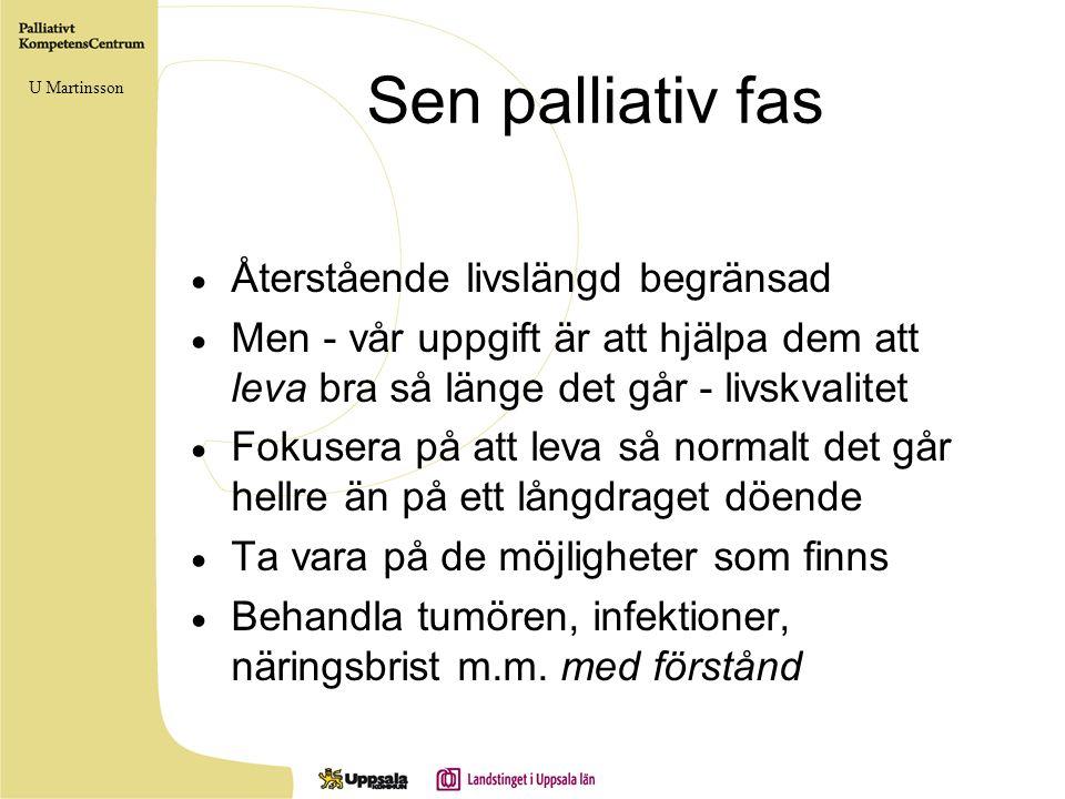 Sen palliativ fas  Återstående livslängd begränsad  Men - vår uppgift är att hjälpa dem att leva bra så länge det går - livskvalitet  Fokusera på a