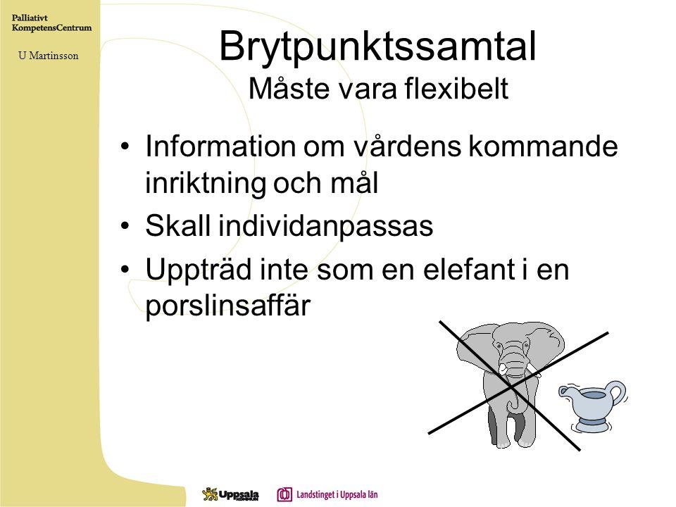 Brytpunktssamtal Måste vara flexibelt Information om vårdens kommande inriktning och mål Skall individanpassas Uppträd inte som en elefant i en porsli