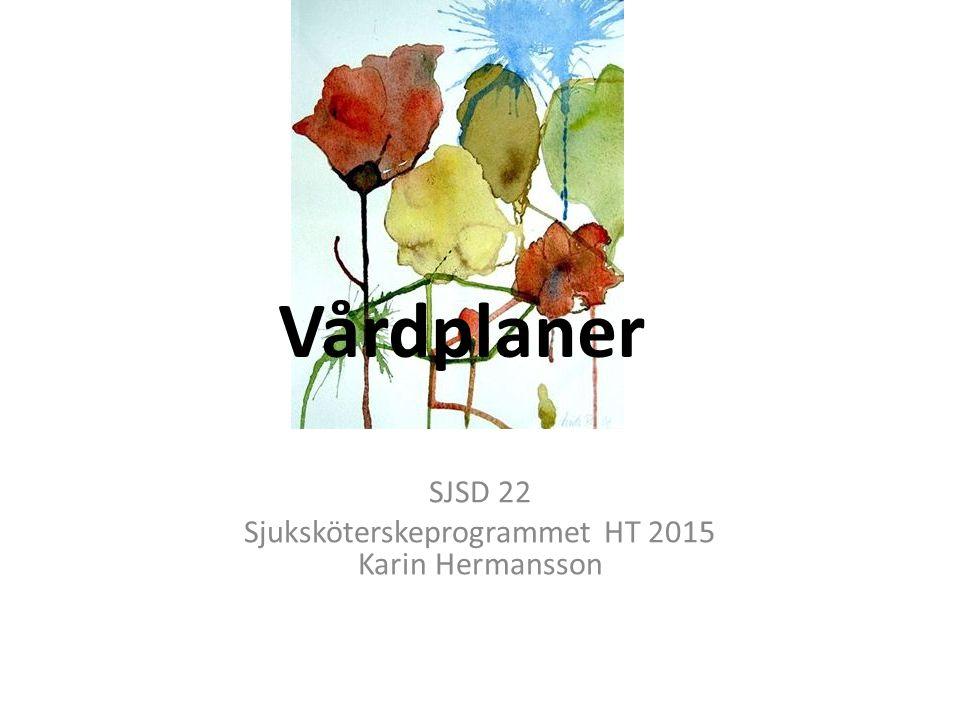 SJSD 22 Sjuksköterskeprogrammet HT 2015 Karin Hermansson Vårdplaner