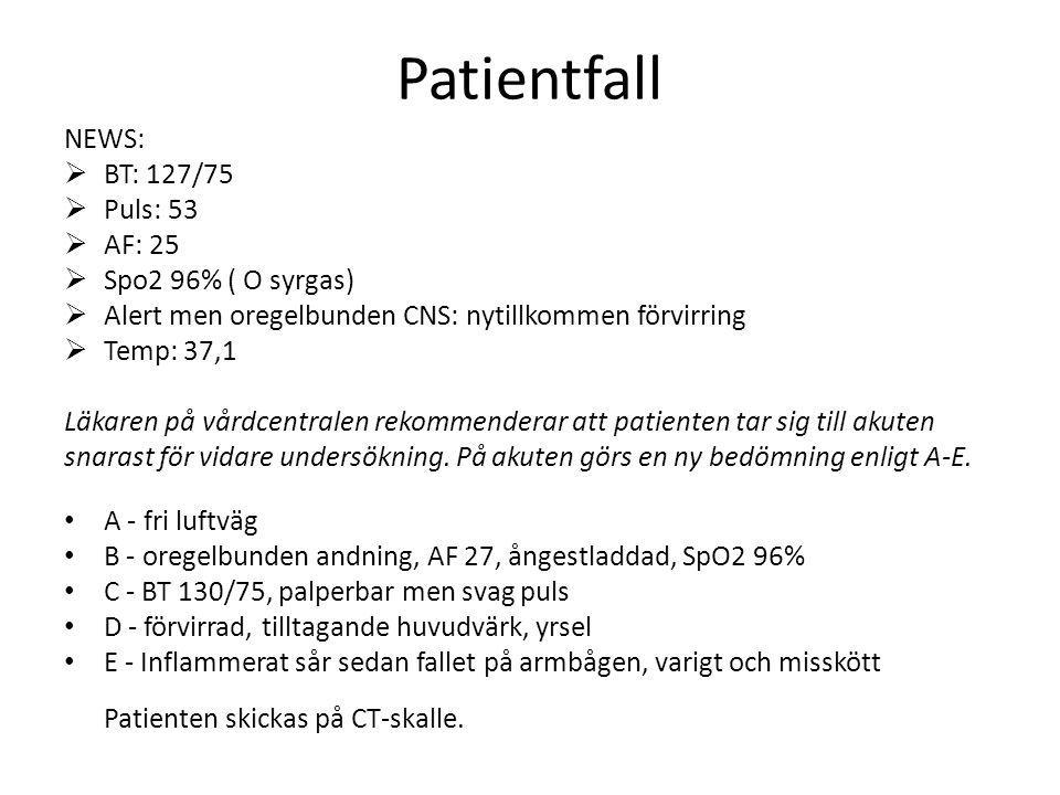 Patientfall NEWS:  BT: 127/75  Puls: 53  AF: 25  Spo2 96% ( O syrgas)  Alert men oregelbunden CNS: nytillkommen förvirring  Temp: 37,1 Läkaren på vårdcentralen rekommenderar att patienten tar sig till akuten snarast för vidare undersökning.