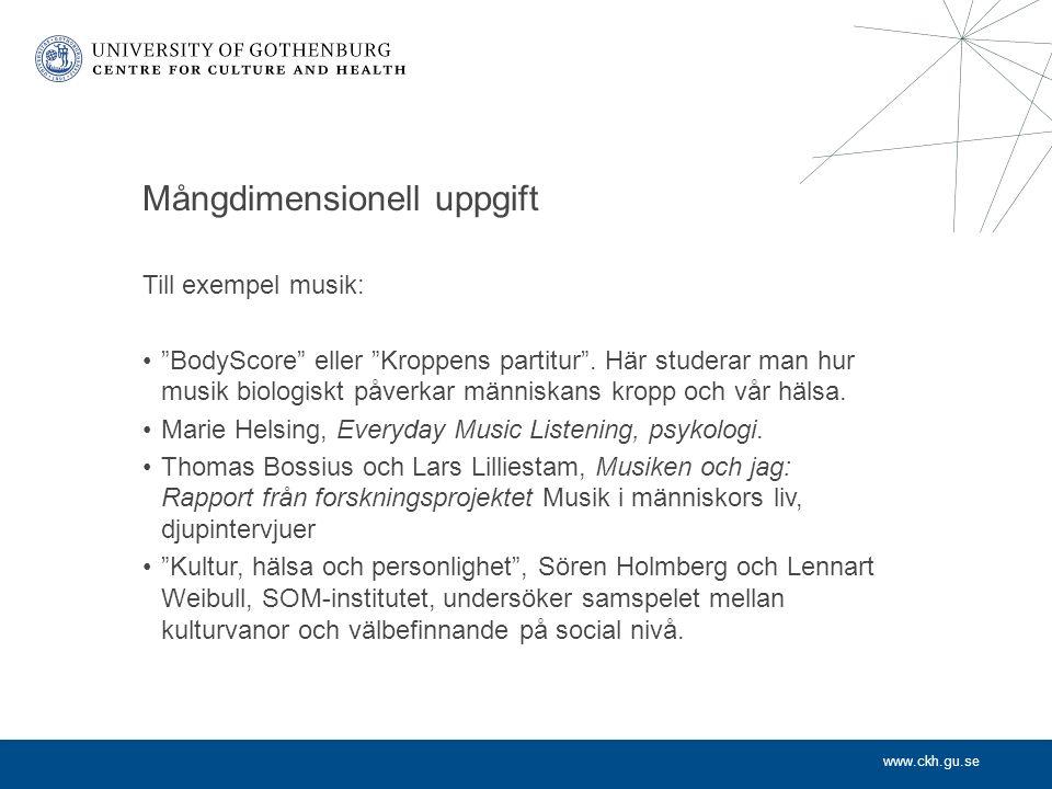 www.ckh.gu.se Mångdimensionell uppgift Till exempel musik: BodyScore eller Kroppens partitur .
