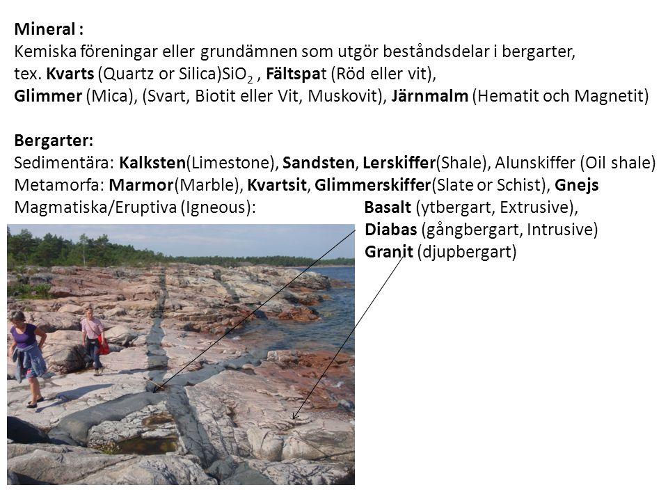 Mineral : Kemiska föreningar eller grundämnen som utgör beståndsdelar i bergarter, tex.