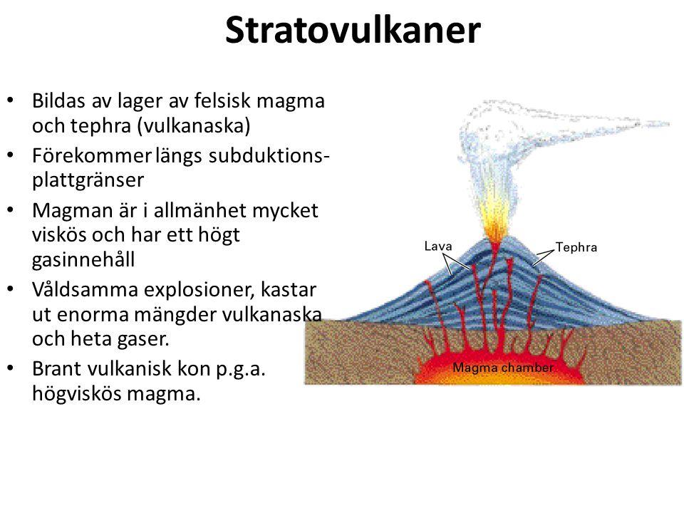 Stratovulkaner Bildas av lager av felsisk magma och tephra (vulkanaska) Förekommer längs subduktions- plattgränser Magman är i allmänhet mycket viskös och har ett högt gasinnehåll Våldsamma explosioner, kastar ut enorma mängder vulkanaska och heta gaser.