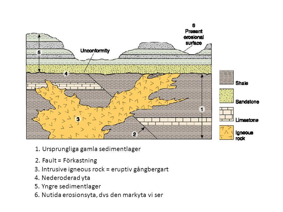 2. Fault = Förkastning 3. Intrusive igneous rock = eruptiv gångbergart 4.