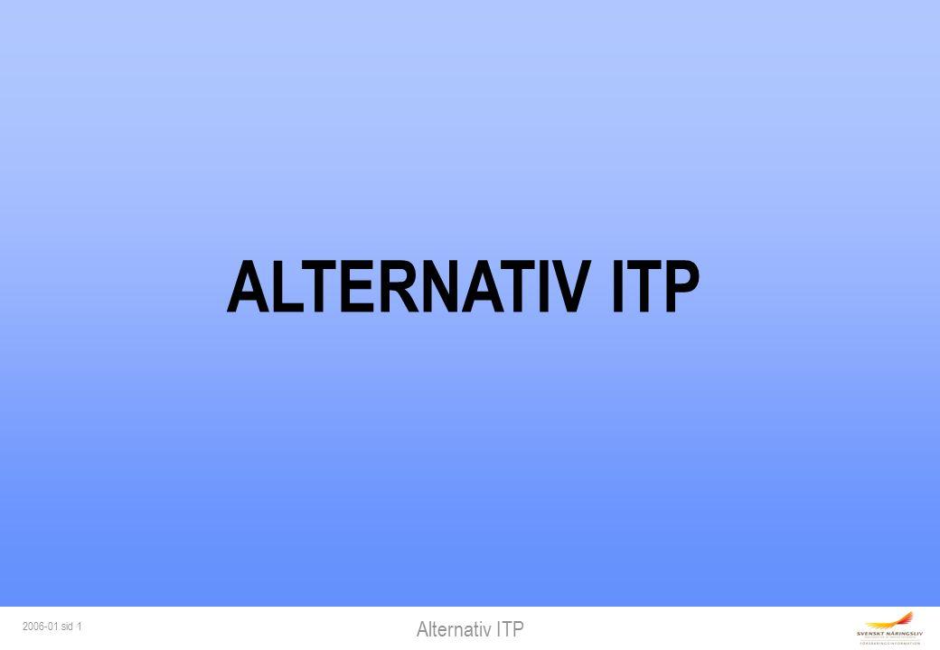 Alternativ ITP 2006-01 sid 2 ARBETSGIVAREN AVGÖR Pensionspolicy Försäkringsbolag Pensionspolicy Försäkringsbolag Försäkring Försäkring Finansiering