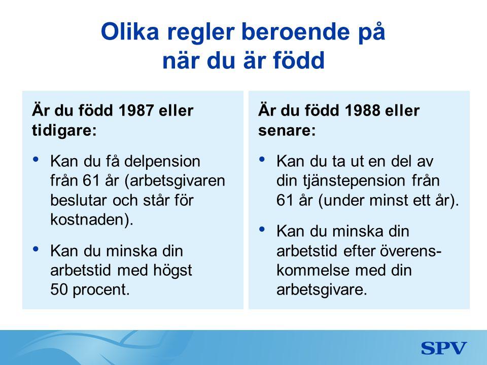 Olika regler beroende på när du är född Är du född 1987 eller tidigare: Kan du få delpension från 61 år (arbetsgivaren beslutar och står för kostnaden).