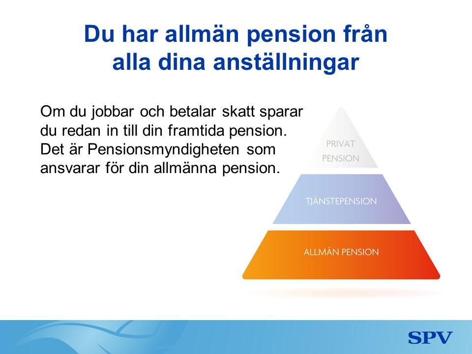 Om du slutar din statliga anställning Om du slutar din statliga anställning finns tjänstepensionen kvar hos oss på SPV, hos Kåpan Pensioner och hos den försäkringsgivare du valt för den valbara delen.