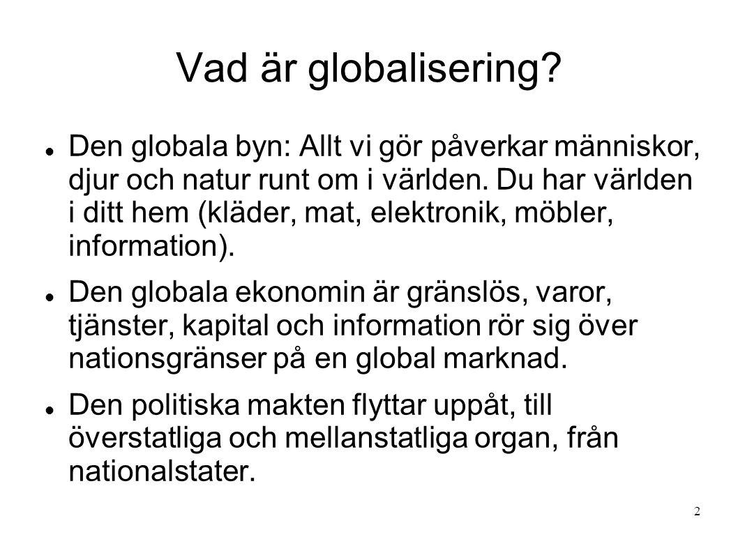 Vad är globalisering? Den globala byn: Allt vi gör påverkar människor, djur och natur runt om i världen. Du har världen i ditt hem (kläder, mat, elekt