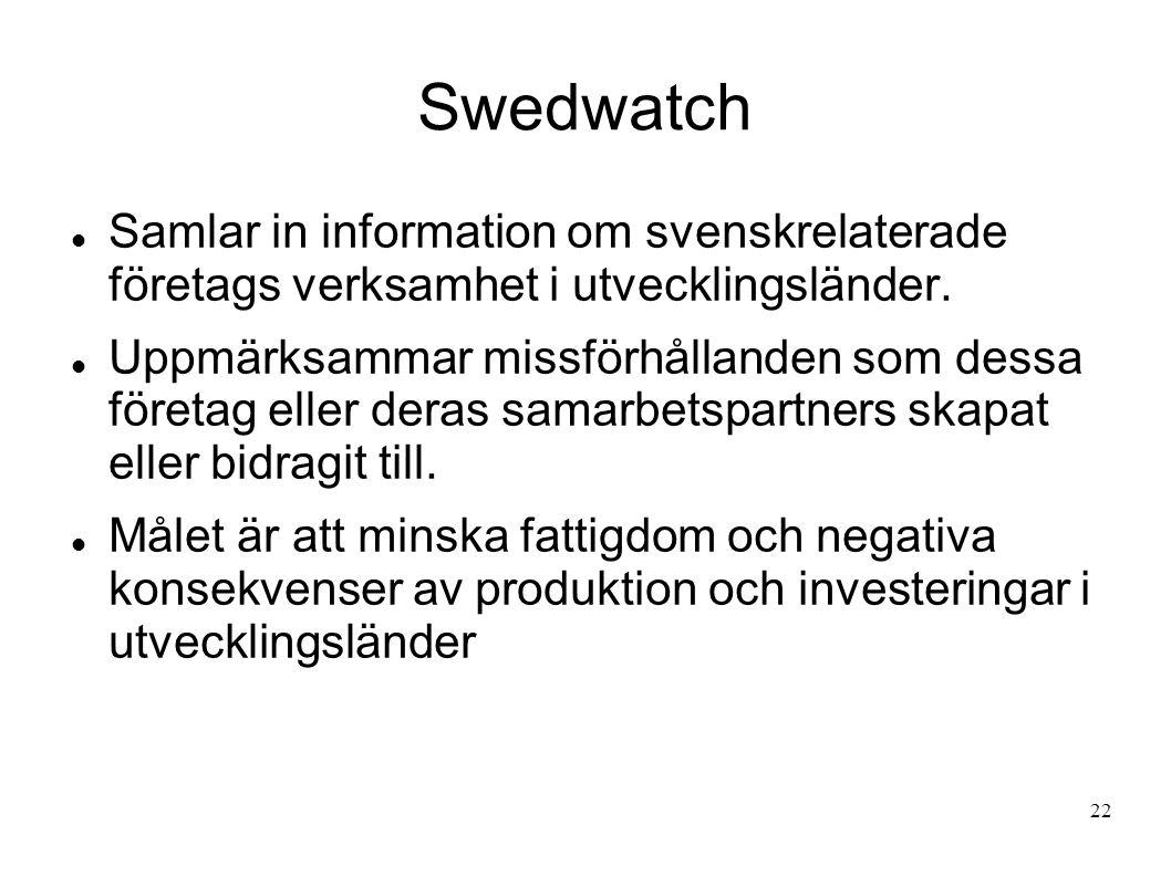 Swedwatch Samlar in information om svenskrelaterade företags verksamhet i utvecklingsländer. Uppmärksammar missförhållanden som dessa företag eller de