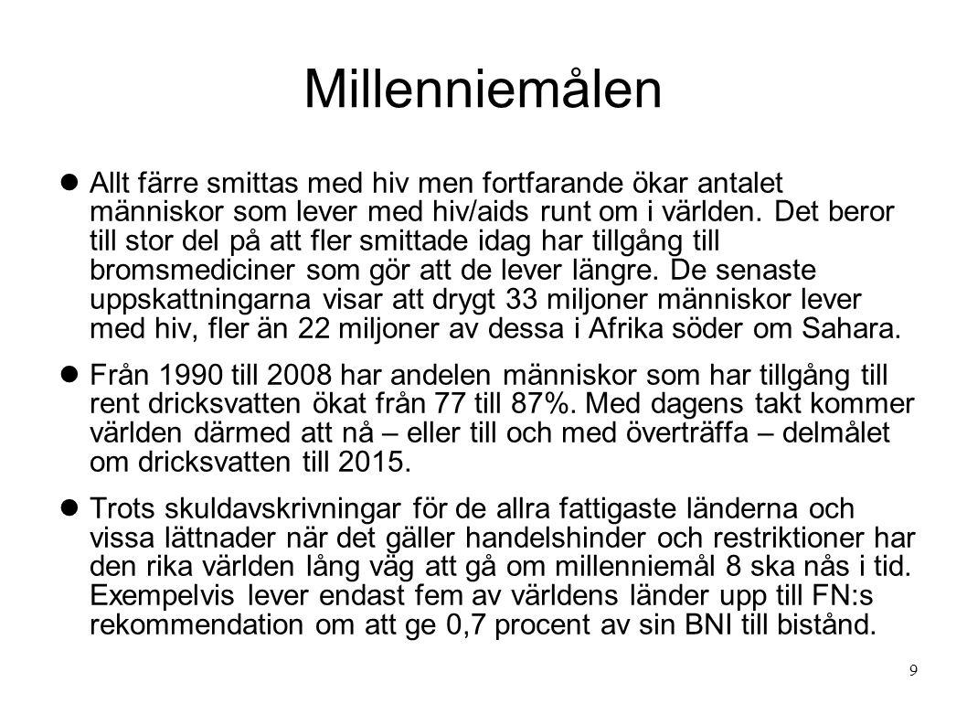 Svenskt bistånd Målet för det svenska biståndsarbetet är att skapa förutsättningar för fattiga människor att förbättra sina levnadsvillkor.