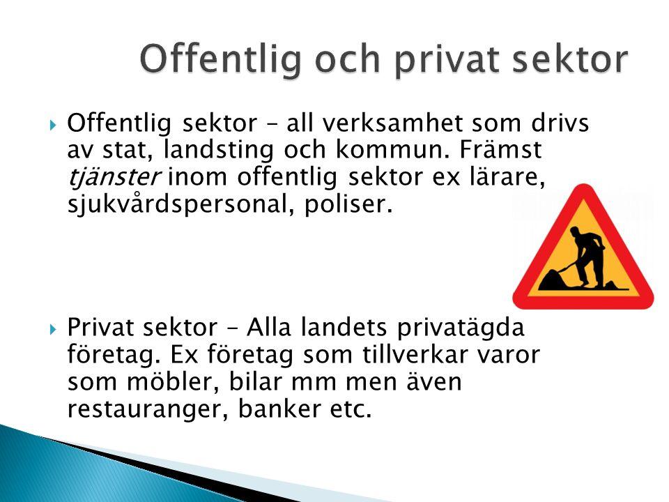  Offentlig sektor – all verksamhet som drivs av stat, landsting och kommun.