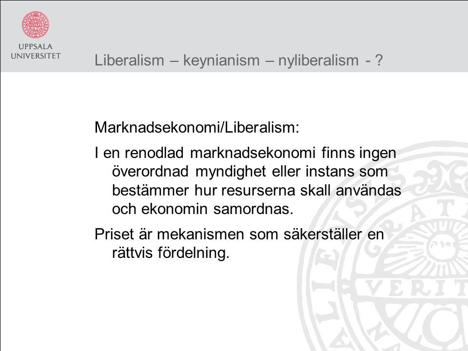 Liberalism – keynianism – nyliberalism - .