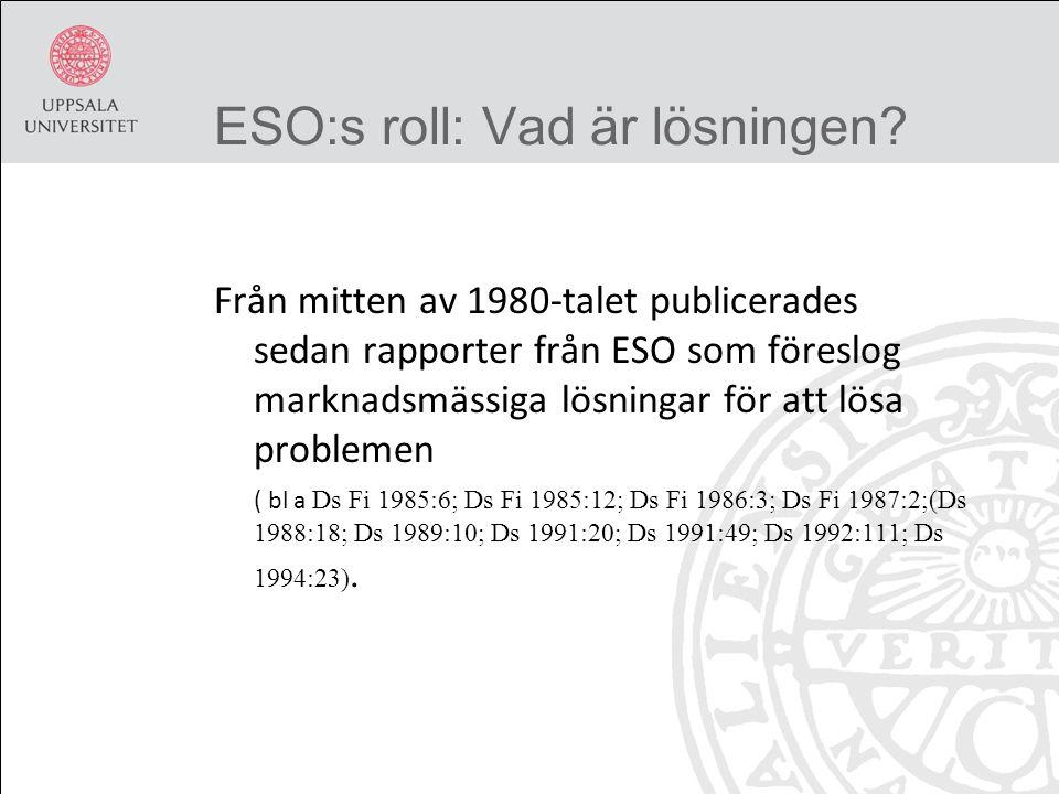 ESO:s roll: Vad är lösningen.
