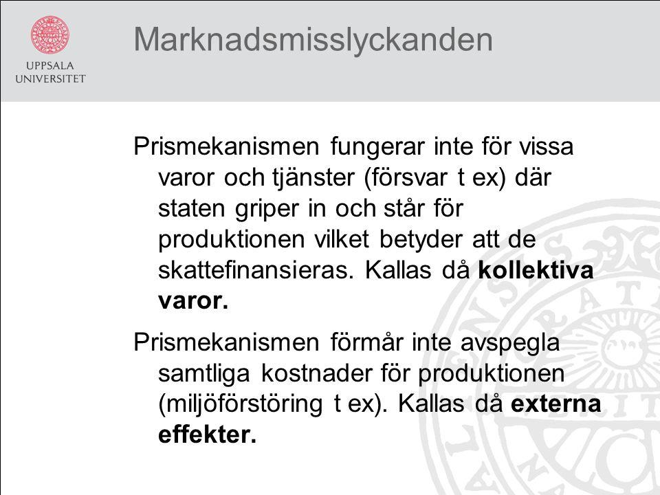 Marknadsmisslyckanden Prismekanismen fungerar inte för vissa varor och tjänster (försvar t ex) där staten griper in och står för produktionen vilket betyder att de skattefinansieras.