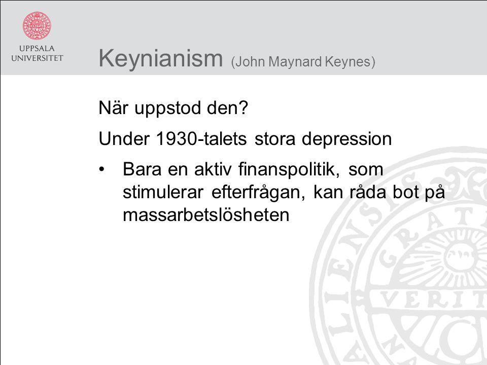 Keynianism (John Maynard Keynes) När uppstod den.