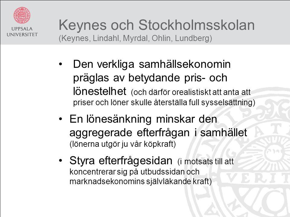 Keynes och Stockholmsskolan (Keynes, Lindahl, Myrdal, Ohlin, Lundberg) Den verkliga samhällsekonomin präglas av betydande pris- och lönestelhet (och därför orealistiskt att anta att priser och löner skulle återställa full sysselsättning) En lönesänkning minskar den aggregerade efterfrågan i samhället (lönerna utgör ju vår köpkraft) Styra efterfrågesidan (i motsats till att koncentrerar sig på utbudssidan och marknadsekonomins självläkande kraft)