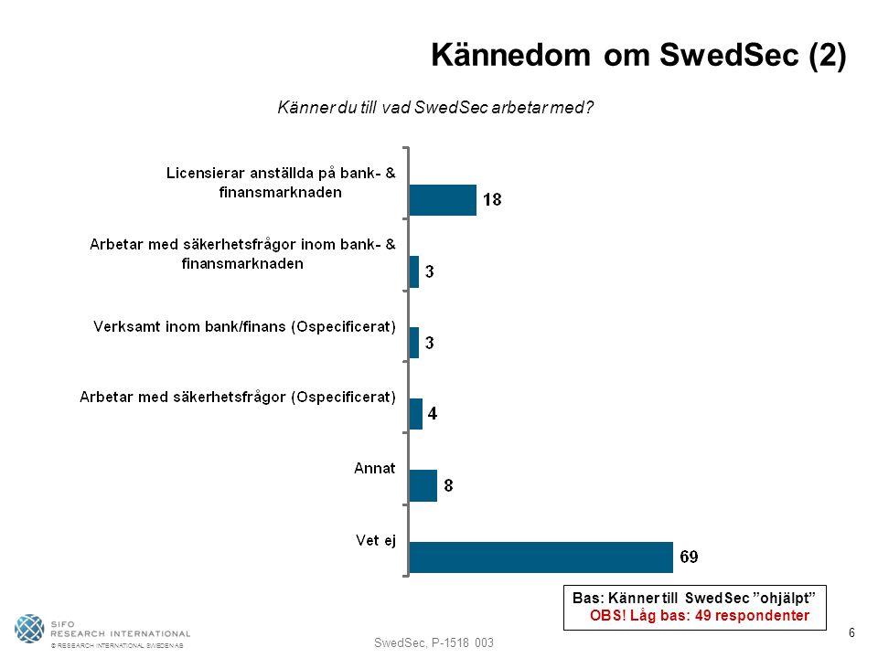 © RESEARCH INTERNATIONAL SWEDEN AB SwedSec, P-1518 003 6 Kännedom om SwedSec (2) Känner du till vad SwedSec arbetar med.