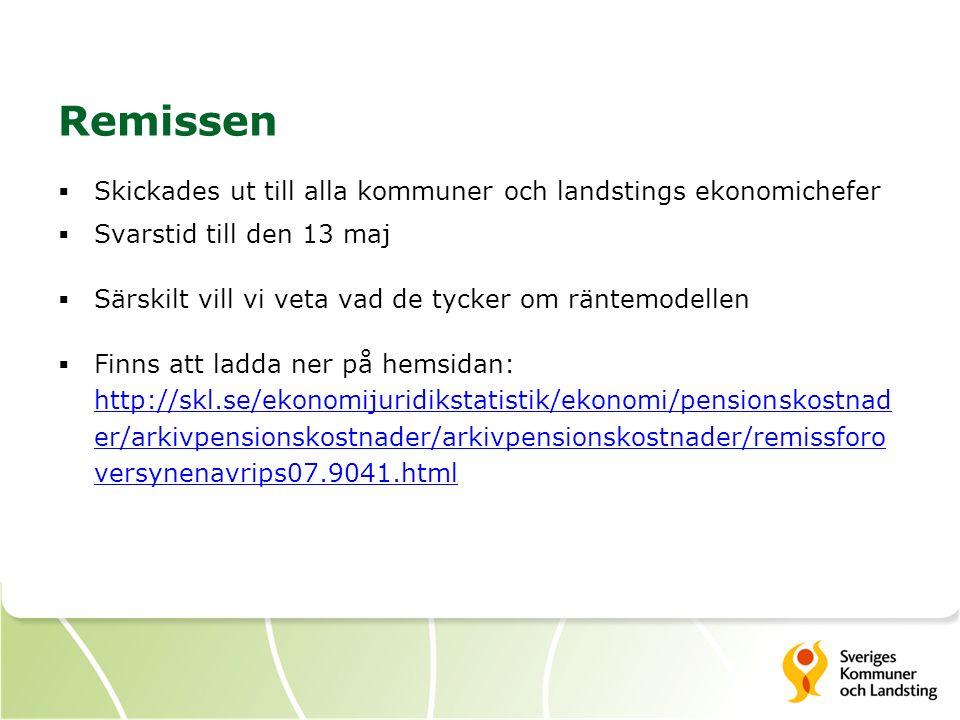 Remissen  Skickades ut till alla kommuner och landstings ekonomichefer  Svarstid till den 13 maj  Särskilt vill vi veta vad de tycker om räntemodel