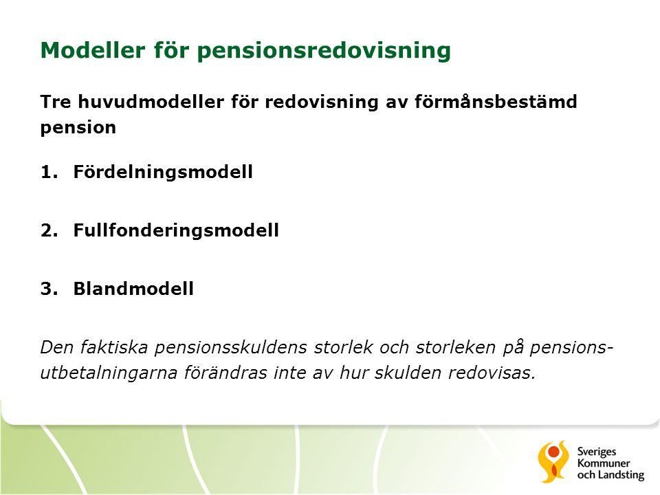 Modeller för pensionsredovisning Tre huvudmodeller för redovisning av förmånsbestämd pension 1.Fördelningsmodell 2.Fullfonderingsmodell 3.Blandmodell Den faktiska pensionsskuldens storlek och storleken på pensions- utbetalningarna förändras inte av hur skulden redovisas.