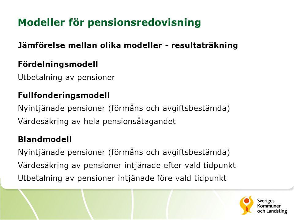 Modeller för pensionsredovisning Jämförelse mellan olika modeller - resultaträkning Fördelningsmodell Utbetalning av pensioner Fullfonderingsmodell Nyintjänade pensioner (förmåns och avgiftsbestämda) Värdesäkring av hela pensionsåtagandet Blandmodell Nyintjänade pensioner (förmåns och avgiftsbestämda) Värdesäkring av pensioner intjänade efter vald tidpunkt Utbetalning av pensioner intjänade före vald tidpunkt