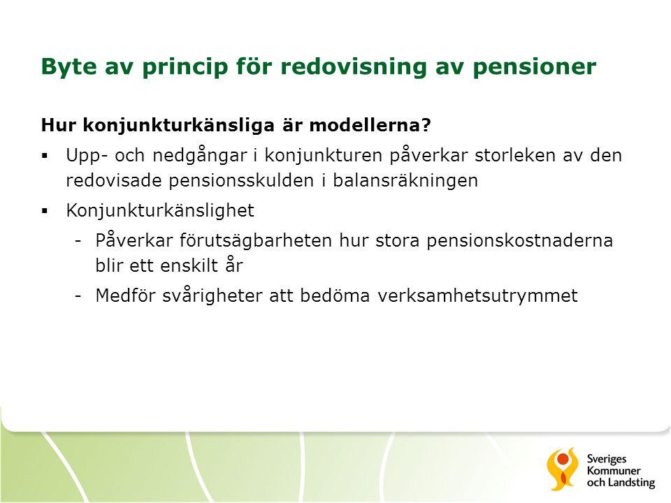 Byte av princip för redovisning av pensioner Hur konjunkturkänsliga är modellerna?  Upp- och nedgångar i konjunkturen påverkar storleken av den redov