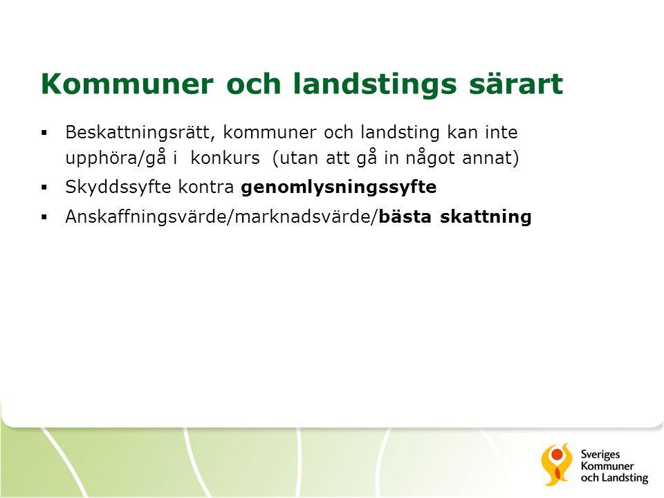 Kommuner och landstings särart  Beskattningsrätt, kommuner och landsting kan inte upphöra/gå i konkurs (utan att gå in något annat)  Skyddssyfte kon