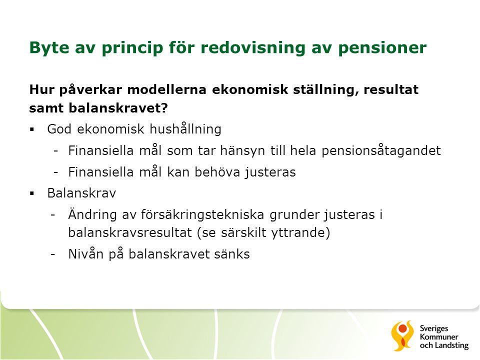 Byte av princip för redovisning av pensioner Hur påverkar modellerna ekonomisk ställning, resultat samt balanskravet?  God ekonomisk hushållning -Fin