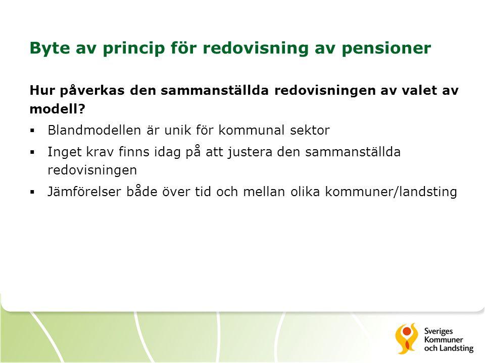 Byte av princip för redovisning av pensioner Hur påverkas den sammanställda redovisningen av valet av modell?  Blandmodellen är unik för kommunal sek