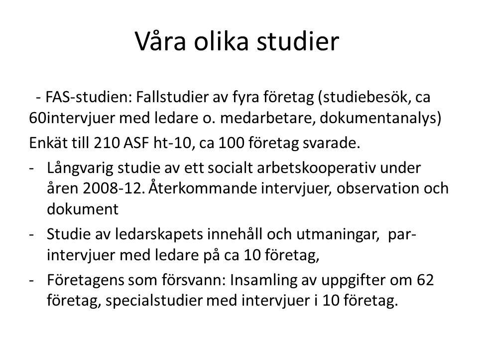 Våra olika studier - FAS-studien: Fallstudier av fyra företag (studiebesök, ca 60intervjuer med ledare o.