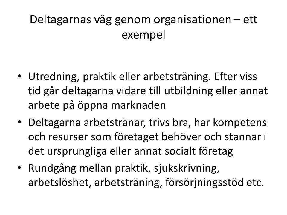 Deltagarnas väg genom organisationen – ett exempel Utredning, praktik eller arbetsträning.