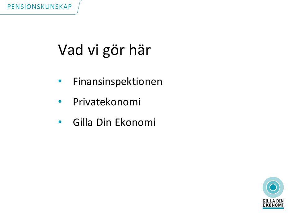 Vad vi gör här Finansinspektionen Privatekonomi Gilla Din Ekonomi PENSIONSKUNSKAP