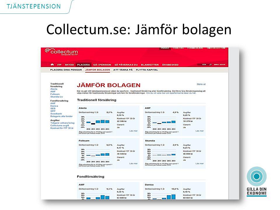 Collectum.se: Jämför bolagen TJÄNSTEPENSION