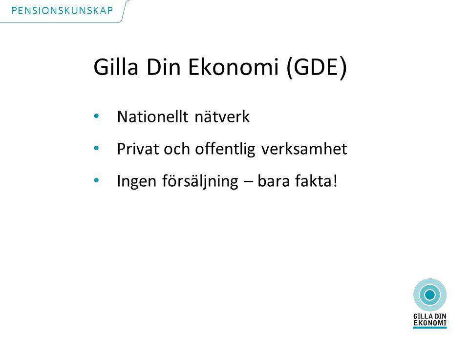 Gilla Din Ekonomi (GDE ) Nationellt nätverk Privat och offentlig verksamhet Ingen försäljning – bara fakta.
